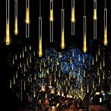 Meteor Shower Christmas Icicle Lights Outdoor, 11.8 inch 10 Tubes 240LED Snowfall Lights Connectable, Waterproof Hanging Rain Drop Lights for Tree Bushes Holiday Party Christmas Decoration(Warm White)