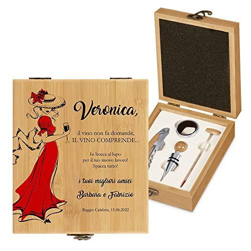 MURRANO Set di accessori da vino - Kit Cavatappi da Vino Degustazione Perfetta Personalizzato - Scatola in legno di bambù + 4 pezzi di Accessori Vino - regalo donna - Abito rosso