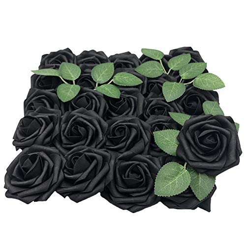 Lmeison Artificial Flowers Rose, 50pcs Real Looking Artificial Roses w/Stem for Bridal Wedding Bouquets Centerpieces Baby Shower DIY Party Home Decor, Black with 4 Leaves