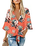 luvamia Women's V Neck Tops Ruffle 3/4 Sleeve Tie Knot Blouses Button Down Shirts, Floral Print-1 Button Down Size M Orange