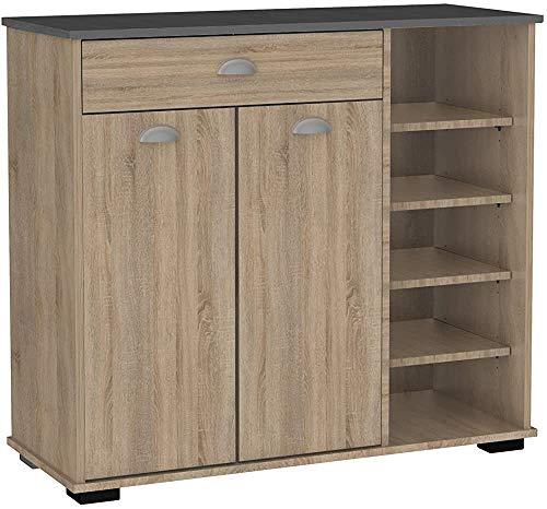 Hilfsschränke Niedriger Puffer Küche Farbe Sawmone Eiche Antike Stil 1 Schublade und 2 Tür 101x90x40 cm,Oak