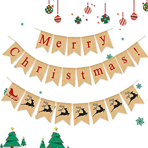 Merry Christmas Burlap Banner - Home Xmas Holiday Decoration for Mantel Fireplace Hanging Decor AND Reindeer-sled Banner Christmas gifts