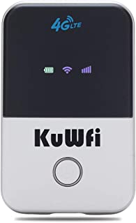 KuWFi 4G WiFi Router LTE Wireless Unlocked Travel Partner Modem with SIM Card Slot Support LTE FDD B1/B3/B5/B7/B8/B20 Work...