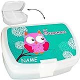 Lunchbox / Brotdose -  Eule auf AST  - BPA frei - mit Einsatz / herausnehmbaren Fach - Brotbüchse Küche Essen - Mädchen Eulen türkis Tiere / Vogel - Vesperb..