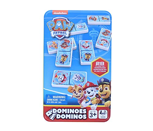 Paw Patrol Dominoes Game Set in Storage Tin, for Families and Kids Ages 4 & Up - 28 Dominoes