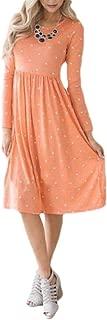 Mogogo Womens Polka Dot Ruched Print Tunic with Pocket Picnic Party Dress