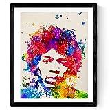 Nacnic Jimi Hendrix Aquarell Poster. Wasserfarbe Stil