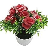 RIsxffp Plantas Artificiales 1 unid Potted Artificial Flor Escenario Etapa Boda casera Accesorios de decoración del Partido Red