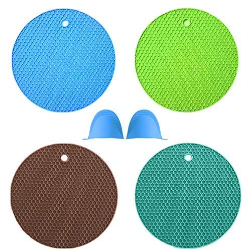 sous- Plat en Silicone Alimentaire sans BPA,4PCS Dessous de Plat en Silicone + 2 pièces de doigtiers isolants et Anti-brûlures - Motif Nid d'abeille pour Four/Barbecue/Cuisine