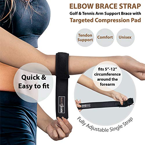 Ionocore® Tennis Elbow Support Strap - Golfers Arm Brace with Targeted Compression Pad & Fully Adjustable Clasp - Joint & Forearm Support Band to Aid Home Workouts & Exercise (1)