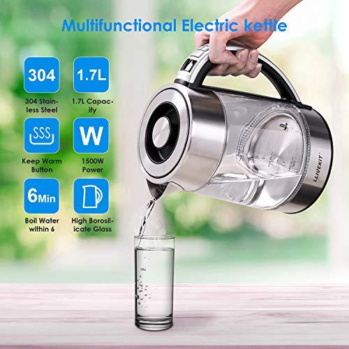 Llivekit - Bollitore elettrico in vetro, 1,7 litri, temperatura regolabile, illuminazione interna a LED, funzione di mantenimento del calore e protezione contro il funzionamento a secco, 2200 Watt