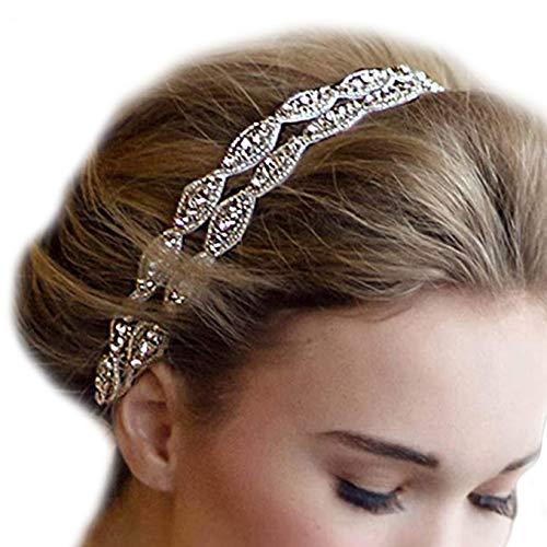 Fashband Bracciale da sposa Doppio pizzo Cristallo Strass Hairband con nastro di pizzo Accessori per capelli da sposa per donne e ragazze