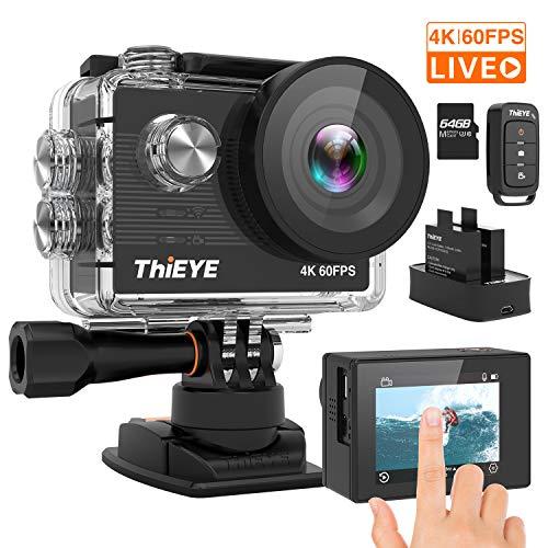 ThiEYE Cámara Deportiva 4K/60fps Ultra HD WiFi 20MP, Videocámara de Accion de 60M Sumergible, Gran Angular de 170 °, Control Remoto, EIS,2 baterías Recargables, 64G tarjeta de memoria y Kit de Montaje