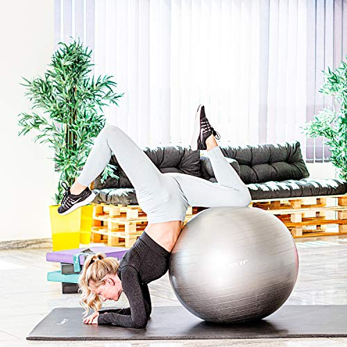Movit® Balle de Gymnastique Grise, 85 cm avec Pompe