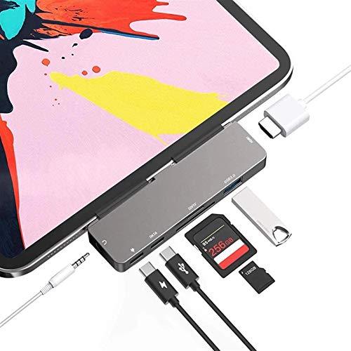 Pinzheng USB C HUB, Mini Portátil de 7 en 1 HDMI USB 3.0 de 3.5 mm Jack TF TF SD Lector de Tarjetas Tipo-C Adaptador PD Fast Carga PLUGADO Y Play, para iPad Pro MacBook Pro/Air