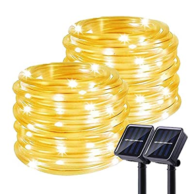 Chinety Solar String Lights Outdoor, 2 Pack 100 LED Solar Rope Lights 8 Modes Copper Wire Fairy Lights Waterproof Outdoor PVC Tube String Lights for Garden Fence Yard Summer Party Decor (Warm White)