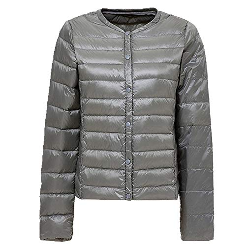 Damen Daunenjacke Ultraleicht Daunenjacke Frauen Kragenloser Mantel Feder Leicht Tragbar Dünn Slim Jacken Gr. XXL, grau
