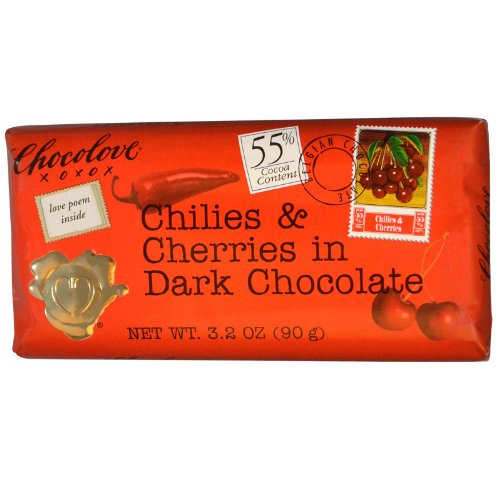 Chillies and Cherries in Dark Chocolate Bar 3.20 Ounces (Case of 12)