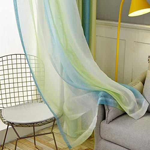 ZYY-Home curtain Rayas Cortinas Opacas para Ventanas con Aislamiento térmico Gradient for Bedroom Living with Two Match Backs Cortinas a Juego 2 Paneles,Voile,W100xL250cm