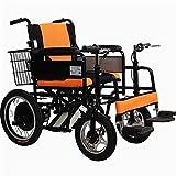 GJNWRQCY Silla de Ruedas eléctrica, Silla de Ruedas eléctrica para discapacitados de Dos Asas para Ancianos, Scooter de enfermería Plegable, Capacidad de Carga 150 kg