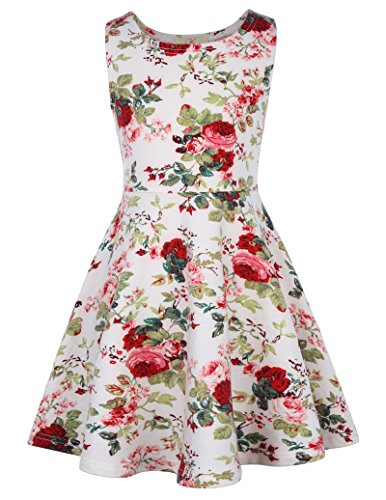 GRACE KARIN Vintage Print Dresses Girls Belt 10-11yrs CL487-1