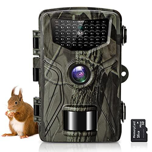 SuntekCam 36MP 2.7K Fotocamera Caccia Fototrappola per la fauna selvatica con scheda SD da 16GB fototrappolaper la visione notturna a infrarossi con LED IR 940nm, timer e impermeabile IP66-HC-804A