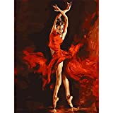Paint by Numbers for Adults,DIY Canvas Painting by Numbers for Home Decoration Dancing Women Drawing Paintwork with Paintbrushes Gift for Your Family