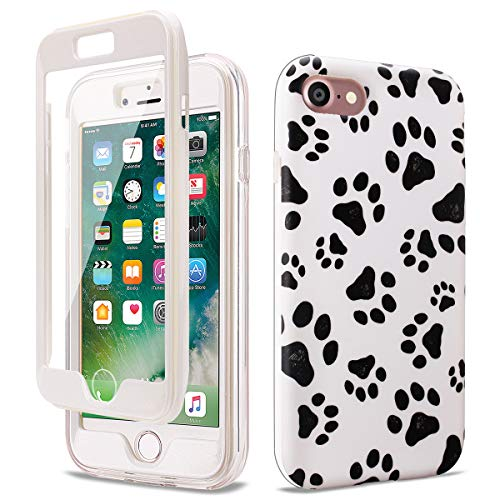 GOLINK Full Body Shockproof Protective Case with Built-in Screen Protector for 4.7 inch iPhone 7 and iPhone 8(Paws)