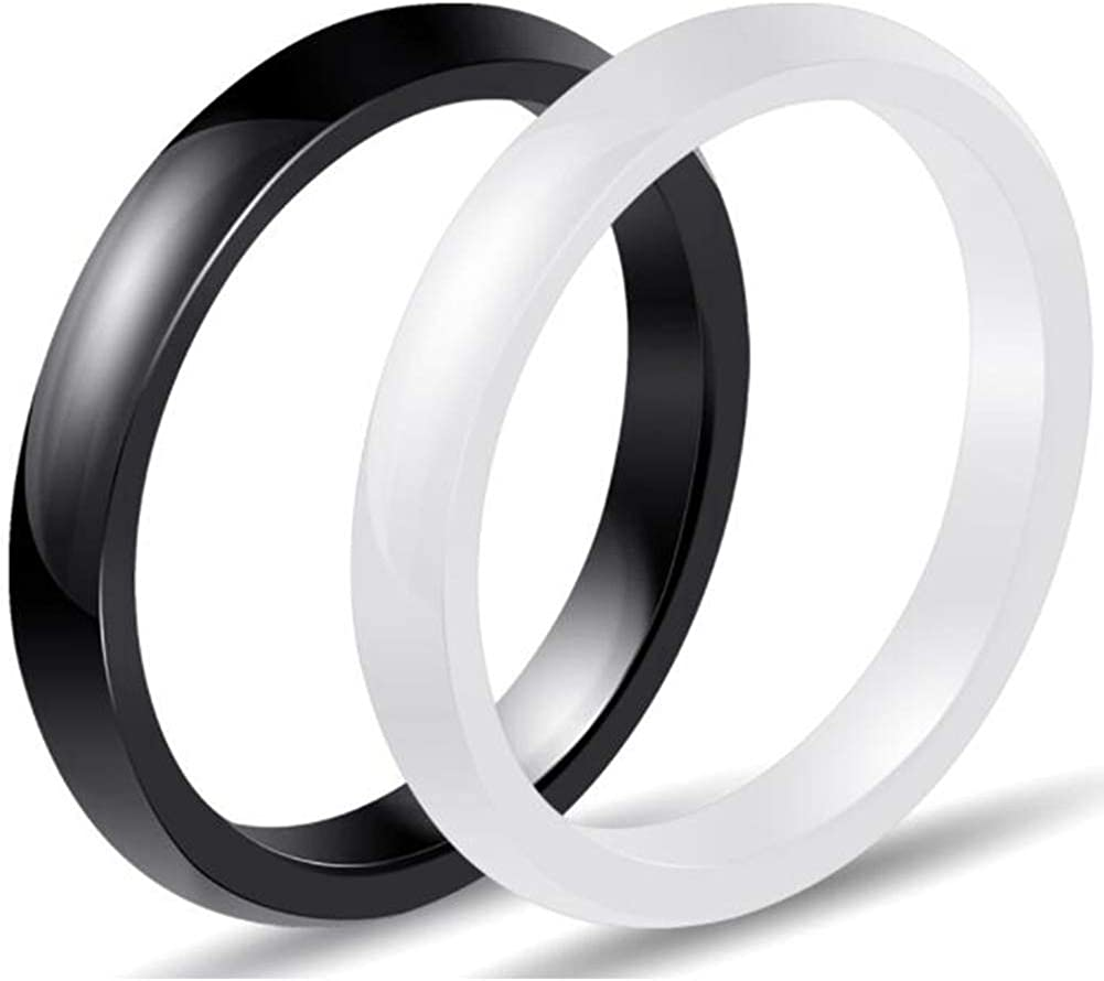 Kingray Jewelry Two-Pack, 3mm Black White Polished Ceramic Wedding Band Stackable Ring Enhancer