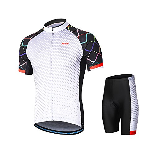 Lixada Herren Radtrikot Set, Atmungsaktiv Quick-Dry Kurzarm Radsport-Shirt + Gel Gepolsterte Shorts, (Typ 4, L)
