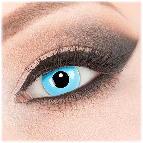 Farbige blaue Crazy Fun Kontaktlinsen 1 Paar 'Sky Angel' mit Kombilösung (60ml) + Behälter - Topqualität von 'Evil Lens' zu Fasching Karneval Halloween ohne Stärke