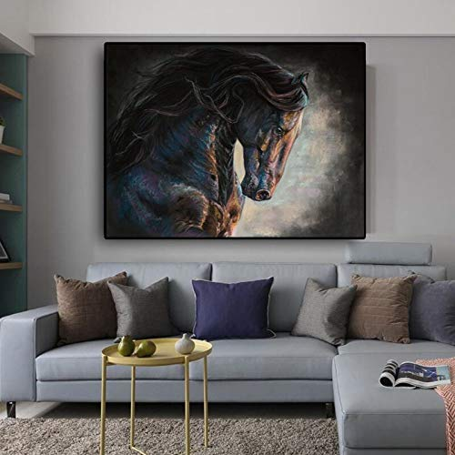 Leinwand Tier Poster und Drucke abstrakte Schwarz-Weiß-Pferd Wandkunst Bild für Wohnzimmer Home Dekoration rahmenlose Malerei 52cmX70cm