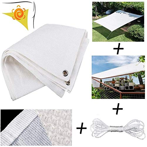 Freestyle Shade Rectangular shade sail Anti UV 95% and Sun Protection Shade cloth for Terrace Carport Pergola Balcony Garden Awning Sunshade with A 5 m long rope-4x6m_White 0713