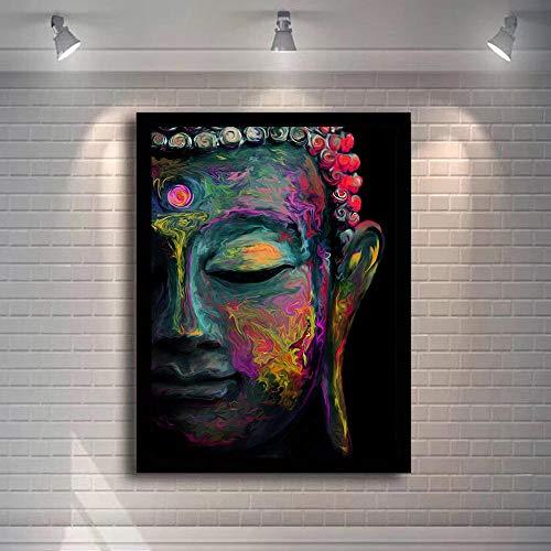 FA LEMON Buddha Abstrakte Wandkunst Leinwanddrucke Moderne Malerei Buddhismus Bilder Wand Decor-60x80cmx1 pcs no Frame