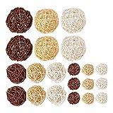 Liseng 21 unidades de bolas de ratán mezcladas, 3 colores, para decoración de bodas, fiestas y Navidad, varios colores (3 cm, 5 cm y 7 cm)