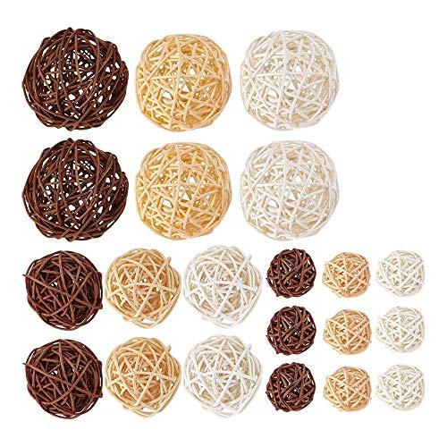 Liseng Set di 21 pezzi di palline in rattan miste, 3 colori, per matrimoni, feste, decorazioni natalizie, 3 cm x 5 cm x 7 cm