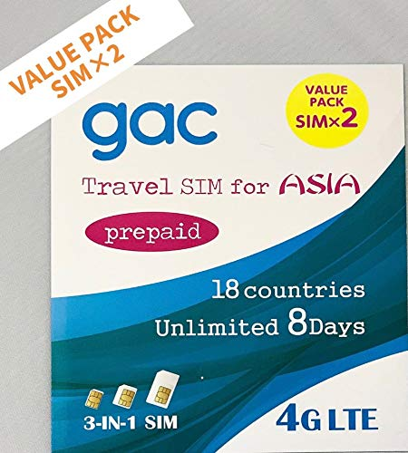 Value Pack !!! Set of 2 !! AIS Unlimited Travel Sim for Asia Prepaid 18 Countries for 16 Days(8days