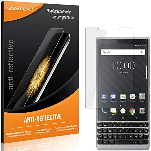 SWIDO Schutzfolie für BlackBerry Key2 LE [2 Stück] Anti-Reflex MATT Entspiegelnd, Hoher Härtegrad, Schutz vor Kratzer/Folie, Displayschutz, Displayschutzfolie, Panzerglas-Folie