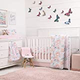 NoJo Watercolor Blossoms Pink, Teal, Gold and White Floral 8 Piece Crib Bedding Set