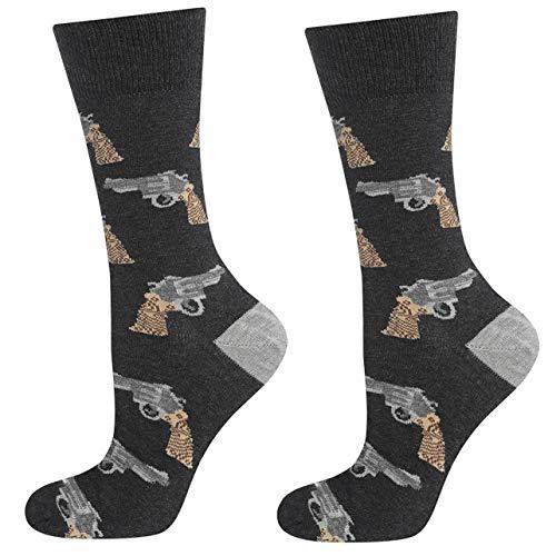 soxo Bunt Gemusterte Herren Socken | Lustige Motivsocken aus Baumwolle | Größe 40-45 (Revolver)