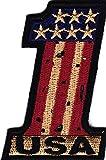 Vintage Look USA' #1 Iron On Patch Pride Biker Patriotic Military American Flag