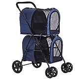 Viagdo Poussette double pour chiens et chats de petite taille et moyenne avec 4 roues détachables pour chats avec 2 transporteurs de voyage portatifs/système de suspension à une main