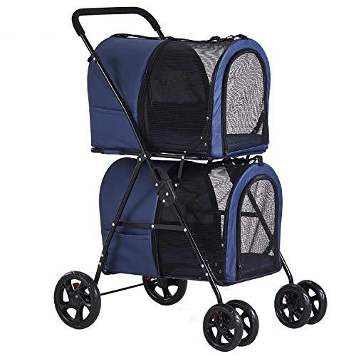 VIAGDO Double Pet Stroller for Small Medium Dogs & Cats, Detachable 4...