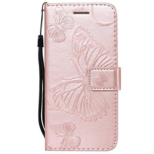 Hancda Coque pour Huawei P Smart, Housse Coque Flip Case Cuir Porte Carte Magnétique Portefeuille Cover pour Huawei P Smart Etui Support Antichoc Coque Case pour Huawei P Smart,Or Rose