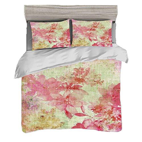 Funda nórdica Tamaño doble (150 x 200 cm) con 2 fundas de almohada Decoración floral Juegos de cama de microfibra Diseño floral con un estilo grunge Fechado fondo Retro Kitsch Artesano Print,rosa verd