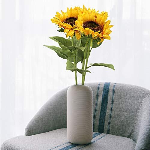 Flovewer 30 Inch Tall 3 Pcs Long Stem Artificial Large Plants Plastic Stem Silk Sunflowers Bouquet for Indoor Outdoor Fireplace Home Farmhouse Party Wedding Decor (Yellow) Silk Flower Arrangements