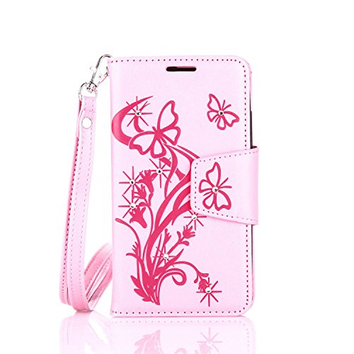 lenovo A2010 Hülle Coozon Flip Hülle mit lebenslanger Garantie Kartenfächern & Standfunktion Cover Wallet fürlenovo A2010 (4,5 Zoll) Schmetterling Rosa