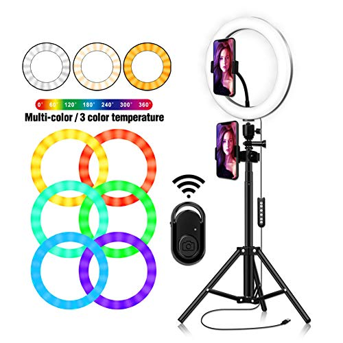 WYSDD Dimbaar RGB-ringlicht LED-ringlicht 26 cm kleurvullicht met telefoonhouder met lichtstaanderbediening voor zelfportretten, portretfotografie, live-overdracht