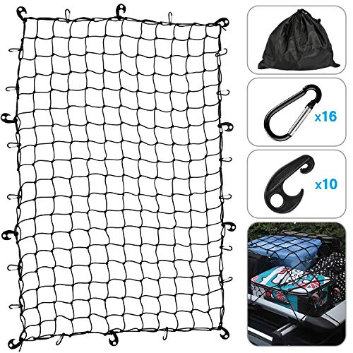 Kohree Truck Bed Cargo Net 4'x6' Stretches to 8'x12', w/ 16 Tangle-Free D Clip Carabiners, 10 ABS Hooks & 1 Storage Bag for Pickup Trucks SUV Trailer