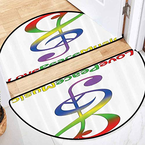 36' L x 24' W 1960s Decorations Collection Dining Room Half-Round Carpets Ergonomical Love Peace and Music Clef Musical Notes Bass Old Sign Slogan Live Feeling Celebration Image Red Green